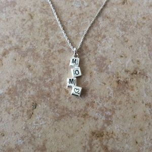 Jewelry - MOM Scrabble Tile Necklace in 925 Sterling Silver